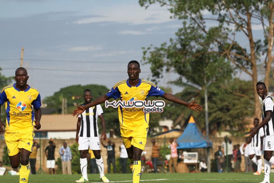 KCCA's Derrick Nsibambi celebrating his goal against KPL champions Tusker FC at Phillip Omondi Stadium