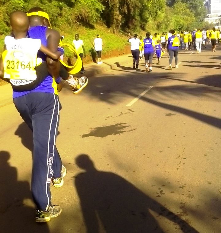 A participant ran with the baby on his back