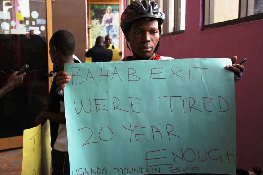 A cycling delegate protests Sam Mahaba's 20 year reign as Uganda Cycling Association President