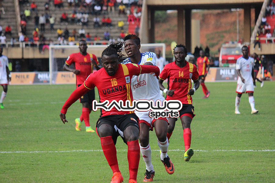 Hassan Wasswa fends off an opponent during Uganda vs COngo