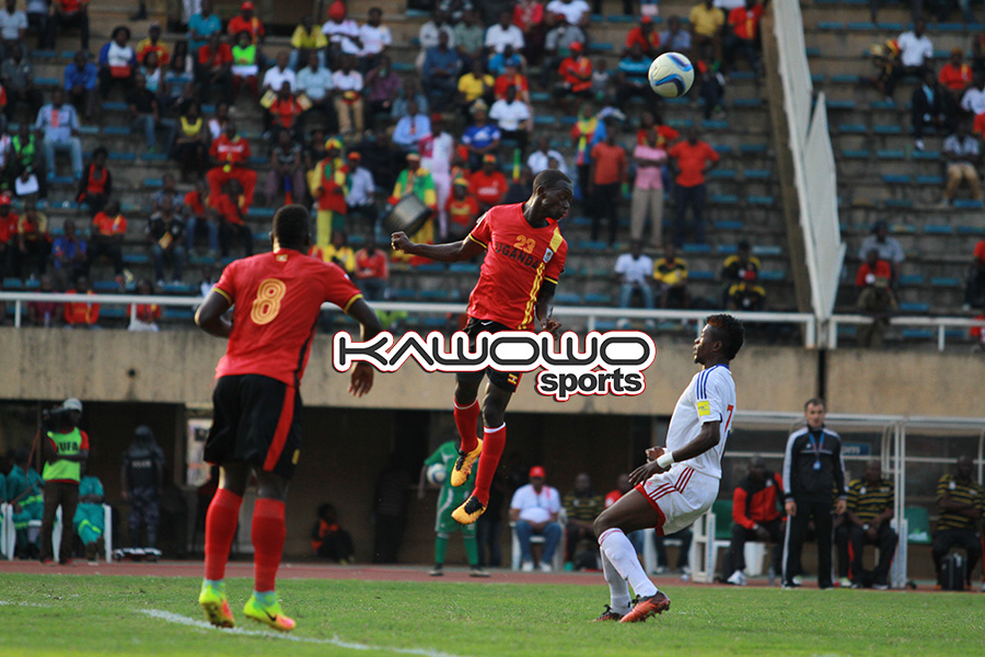 Mike Azira heads the ball during Uganda vs Congo at Namboole