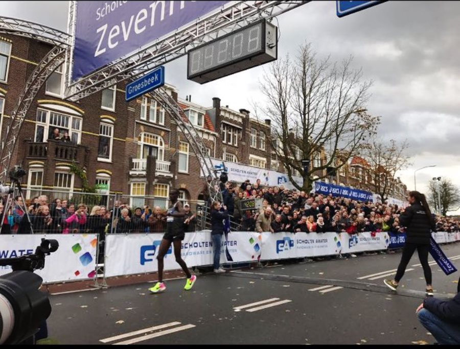 Joshua Cheptegei crosses the finishing line in Netherlands race