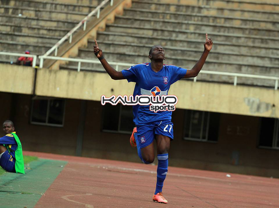 Martin Kizza celebrates his goal against Bright Stars. He also won the Jogoos a penalty which Mbowa converted in the game