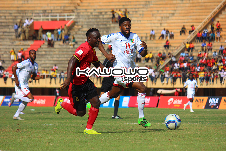 Uganda Cranes' Tony Mawejje in action against Congo Brazzaville