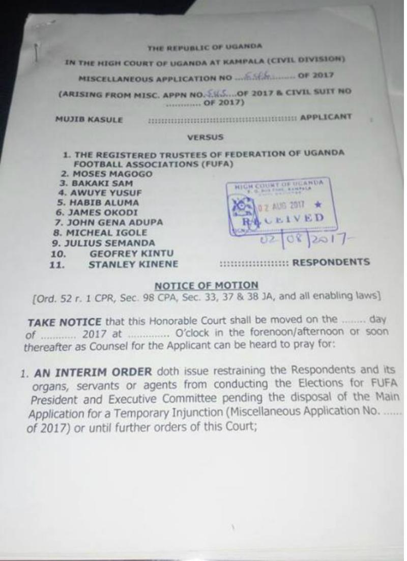 Mujib Kasule seeks temporary injunction on FUFA Elections
