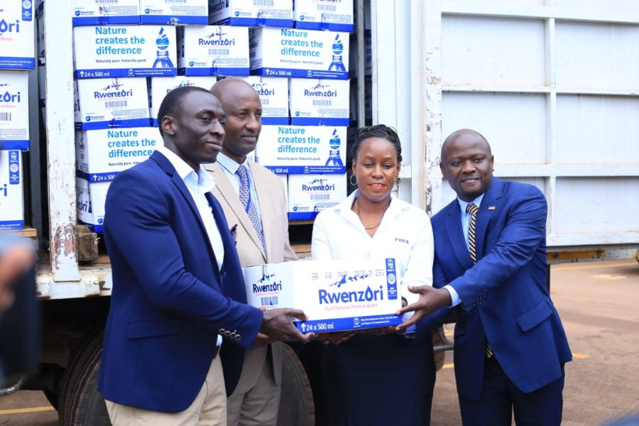 URA Football Club unveils new partner #Uganda Rwenzori water hand over URA FC 900x600